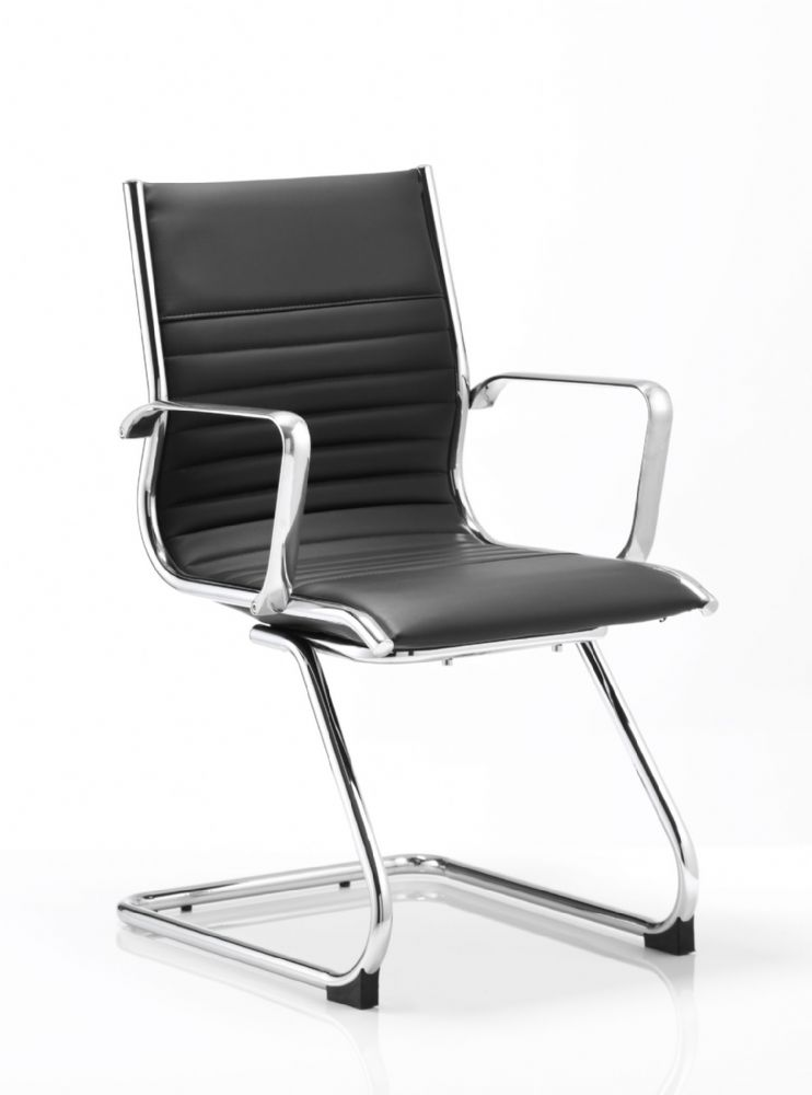 Ritz One Piece Cantilever Visitors Chair Chrome Frame Chrome Armrests Choice of Leather Colours